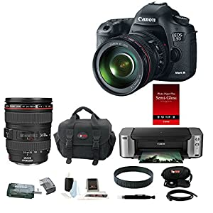 Canon EOS 5D Mark III DSLR Camera Kit with Canon 24-105mm f/4L IS USM AF Lens with Canon PIXMA PRO-100 Inkjet Photo Printer and Deluxe Accessory Bundle