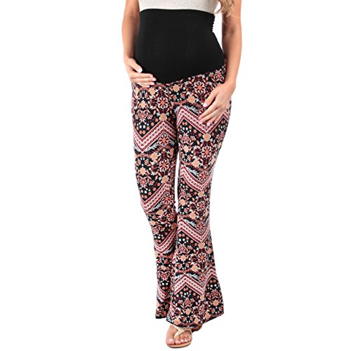 Women's Strechy Maternity Palazzo Pants with Tummy Control by Rags and Couture- Made in USA (Medium, Black Floral)