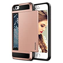 iPhone 6S Case, iPhone 6 Case, Vofolen® Impact Resistant Protective iPhone 6 Wallet Cover Shockproof Rubber Bumper Case Anti-scratches Hard Shell Skin with Card Slot Holder for iPhone 6S - Rose Gold