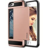 iPhone 6S Case, Vofolen Impact Resistant Hybrid iPhone 6 Wallet Case Protective Shell Shockproof Rugged Rubber Bumper Anti-scratch Hard Cover Skin Card Holder for iPhone 6 6S - Rose Gold