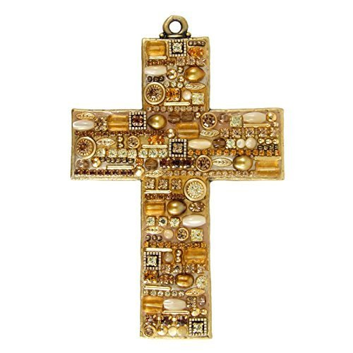 Michal Golan Golden Mosaic Wall Cross. Made with 24K Gold, Citrine, Pearls and Crystals. Luxe and Glamorous Home Decor.