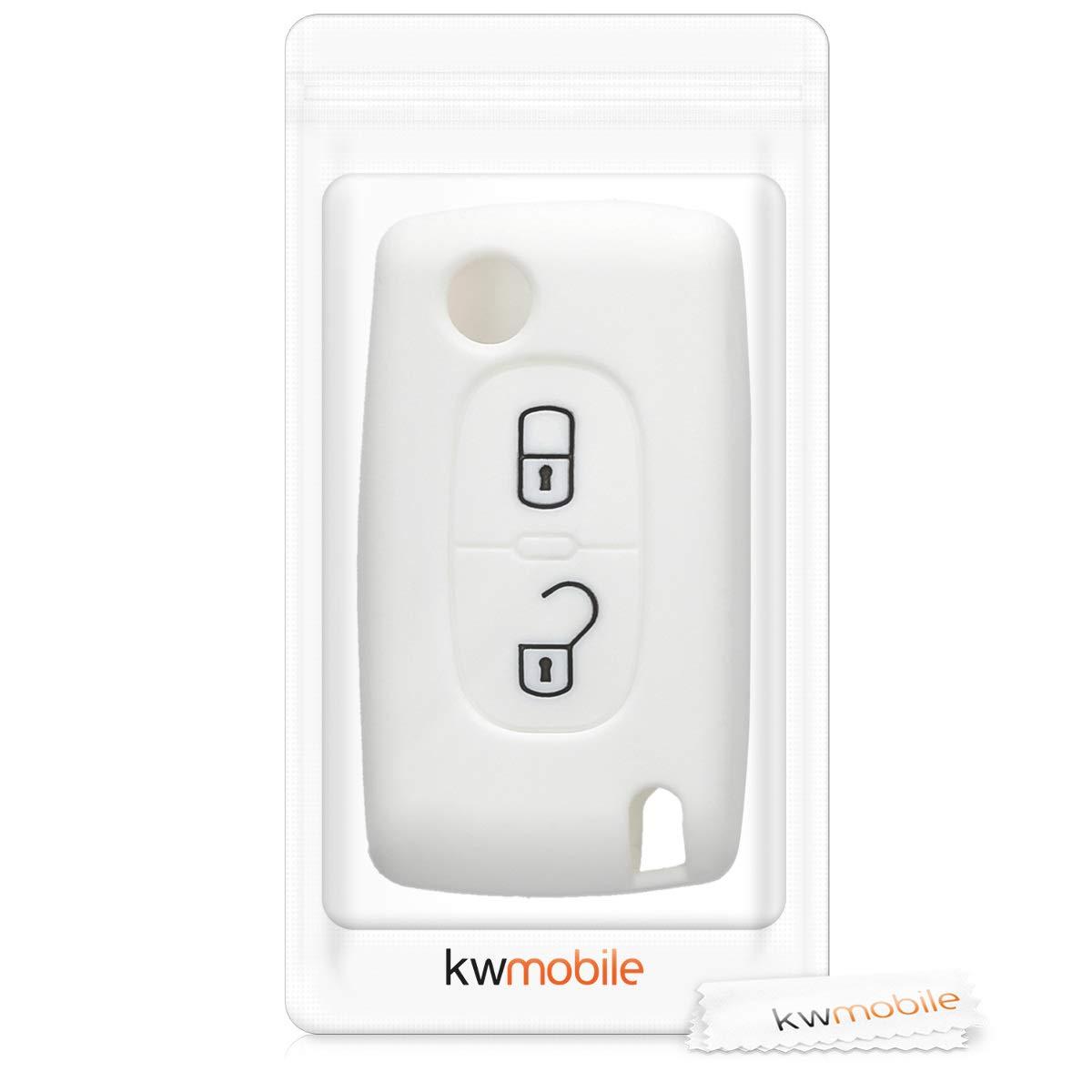 Silicona Carcasa Protectora de kwmobile Funda para Llave Plegable de 2 Botones para Coche Peugeot Citroen - Case de Mando de Auto con dise/ño de Rally Suave