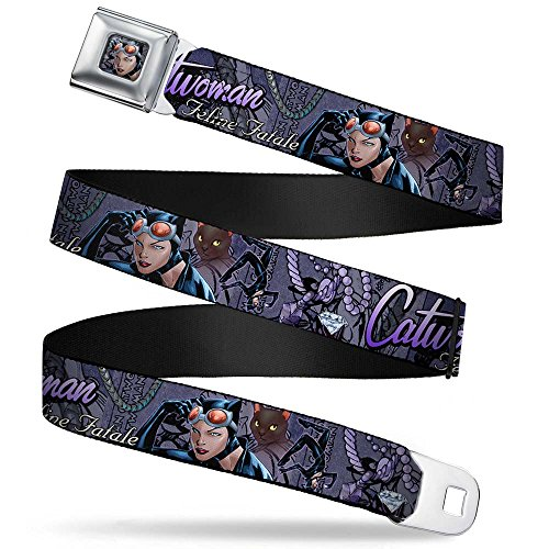 Buckle-Down Seatbelt Belt - CATWOMAN-NINE LIVES OF A FELINE FATALE Pose2/Jewelry/Black Cat Purples - 1.5