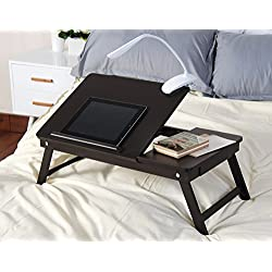 Espresso Wooden Lap Desk, Flip Top with Drawer, Foldable Legs for Laptop