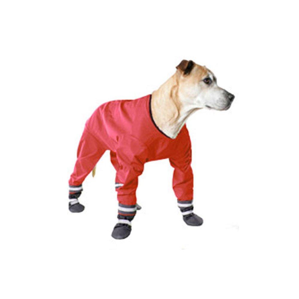 Muttluks Four Legged Dog Jog Rainsuit, Size 16, Red