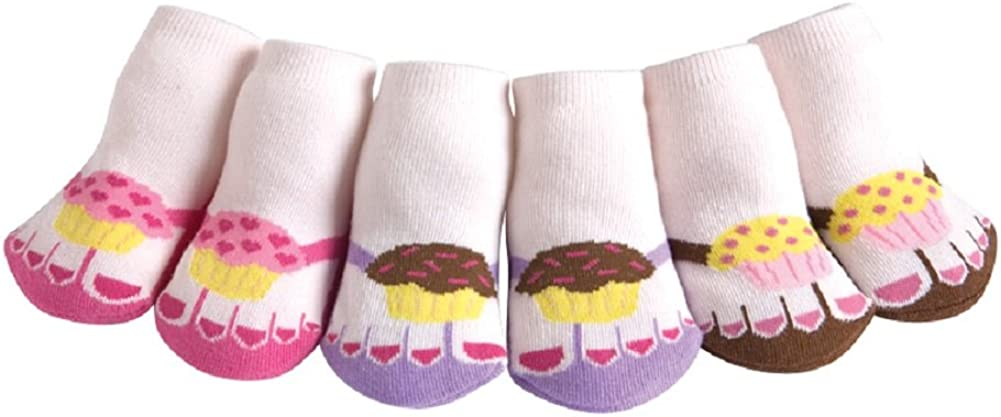 JazzyToes Flip Flop Cupcake Cutie Infant and Baby Cotton Socks 0-12 months