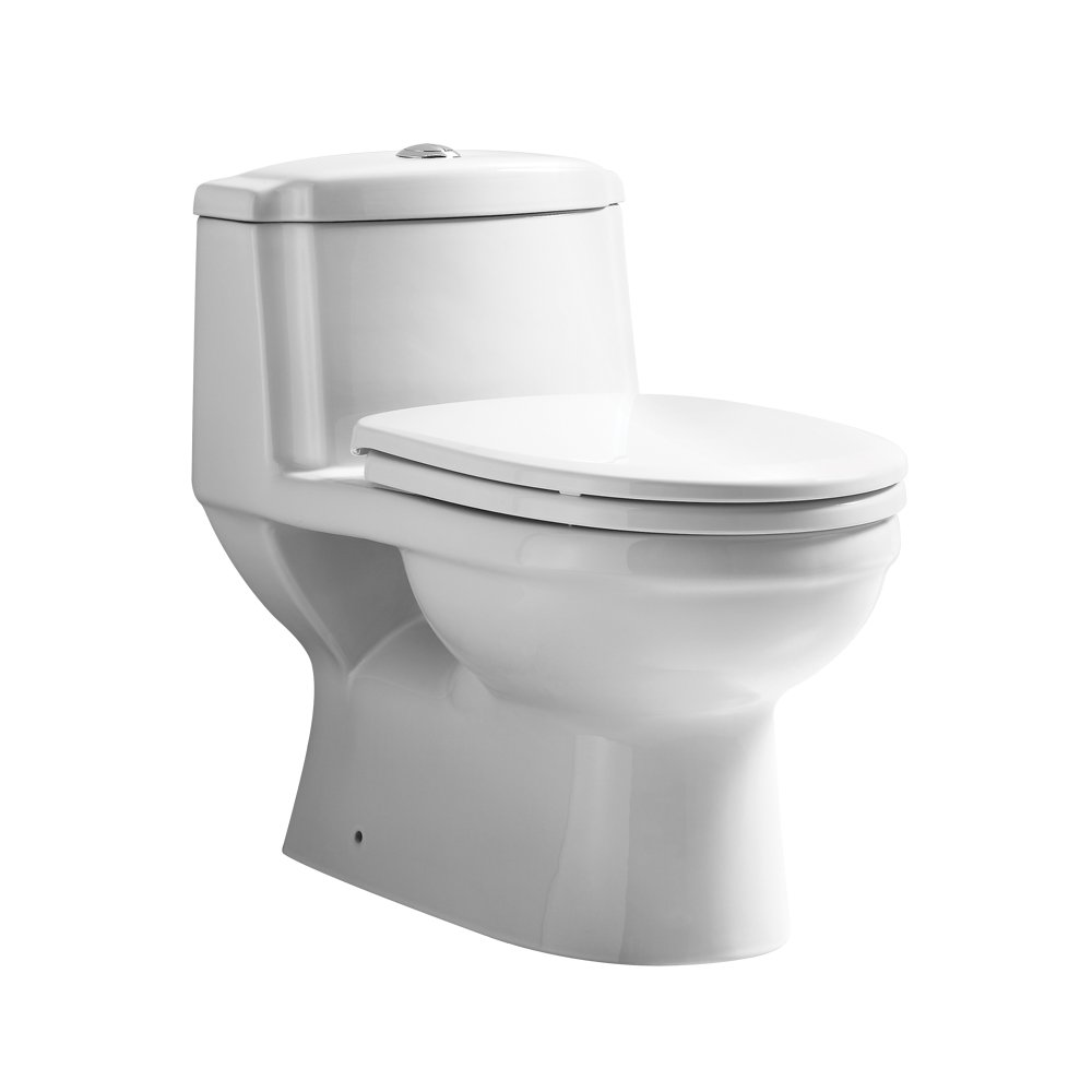 Whitehaus Collection Eco Friendly One Piece Traditional Toilet with A Siphonic Action Dual Flush System, Elongated Bowl