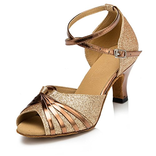 KAI-ROAD Ballroom Dance Shoes Women 2.5 inch Heel Wedding Shoe Salsa Latin Dance Heels for Practice, Gold (10 M US) by KAI-ROAD