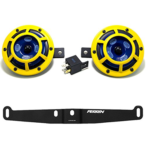 Hella H31000001 114dB 12V Sharptone Panther Dual Horn Kit with Perrin Install Bracket Compatible with 2002-07 Subaru WRX STI (Yellow)