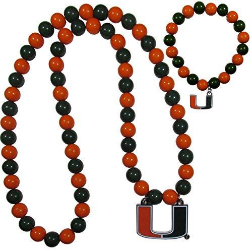 NCAA Miami Hurricanes Fan Bead Necklace & Bracelet Set (Ncaa Spirit Necklace)
