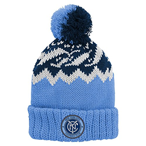 MLS NY City Youth 8-20 Cuffed Knit with Pom-1S,1S,Bahia Blue