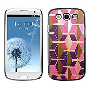Paccase / SLIM PC / Aliminium Casa Carcasa Funda Case Cover para - Gold Pink Purple Polygon 3D Dimensional - Samsung Galaxy S3 I9300