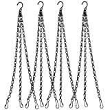Hanging Chain, HEAVY DUTY 24 Inch Hanging Flower Basket Galvanized Replacement Chain -3 Point Garden Plant Hanger for outdoor or indoor