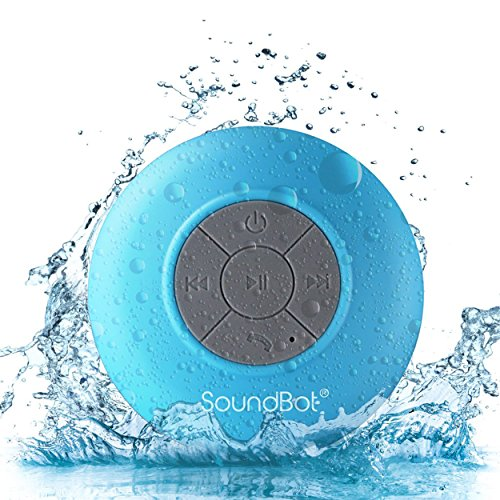 SoundBot SB510 HD Water Resistant Bluetooth 3.0 Shower Speaker, Handsfree Portable Speakerphone with Built-in Mic, 6hrs of playtime, Control Buttons and Dedicated Suction Cup (Blue) by soundbot