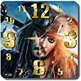 ART TIME PRODUCTION Pirates of The Caribbean-Jack Sparrow 11'' Handmade Wall Clock - Get Unique décor for Home or Office – Best Gift Ideas for Kids, Friends, Parents and Your Soul Mates