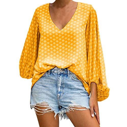 - Opinionated Women Polka Dot Shirt V-Neck Lantern Sleeve Top Summer Shirt Floral Print Casual Loose Long Sleeve Tops Blouse