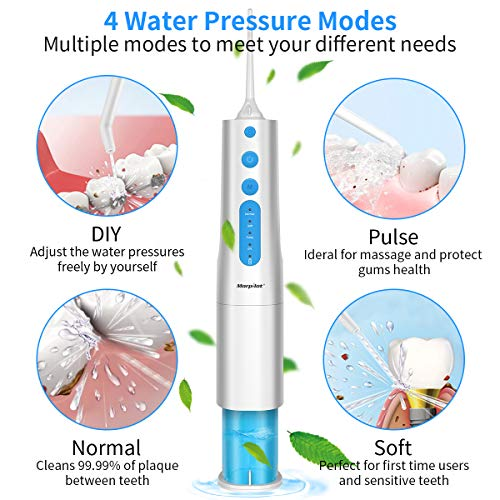 Water Flosser for Teeth, morpilot Portable Oral Irrigator, 350ML Dental Flosser Brushes with 4 Jet Tips, 4 Modes, IPX7 Waterproof, USB Rechargeable, Cordless Electric Flosser for Home Travel
