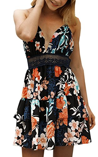 (Womens V-Neck Spaghetti Strap Bowknot Backless Sleeveless Lace Mini Swing Skater Dress (Small, Black-Flower))