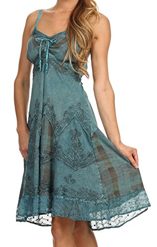 Dress Strap Silver Spaghetti Turquoise Stonewashed Embroidered Sakkas Lacey Threaded 0nYHw7x