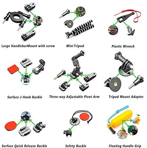 Accessory Kit(55 in 1) for Gopro Hero 7 6 5 4 3+ 3 2 1 Hero Session 5 Black Akaso Ek7000 Apeman Sj4000 5000 6000 Dbpower AKASO VictSing Wimius Rollei Qumox Lightdow Campark Sony Sport DV with Case by Gogolook (Image #4)