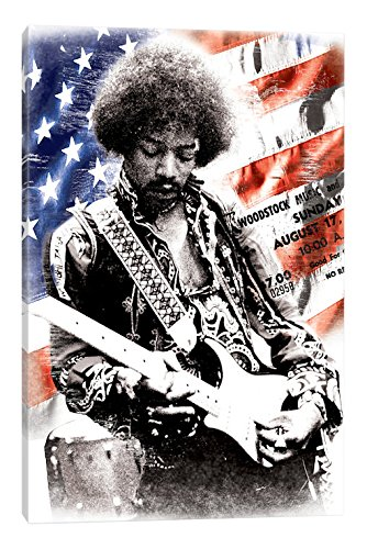 iCanvasART Jimi Hendrix (American Flag Background) Canvas