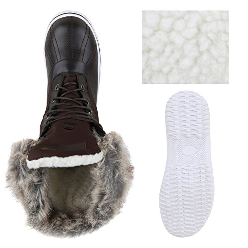 Stiefelparadies Warm Gefütterte Damen Stiefeletten Winterboots Stiefel Schuhe Flandell Dunkelbraun