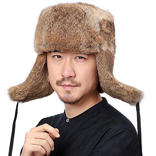 Valpeak Mens Winter Hat Real Rabbit Fur Russian Ushanka Hats (Tan, XL)
