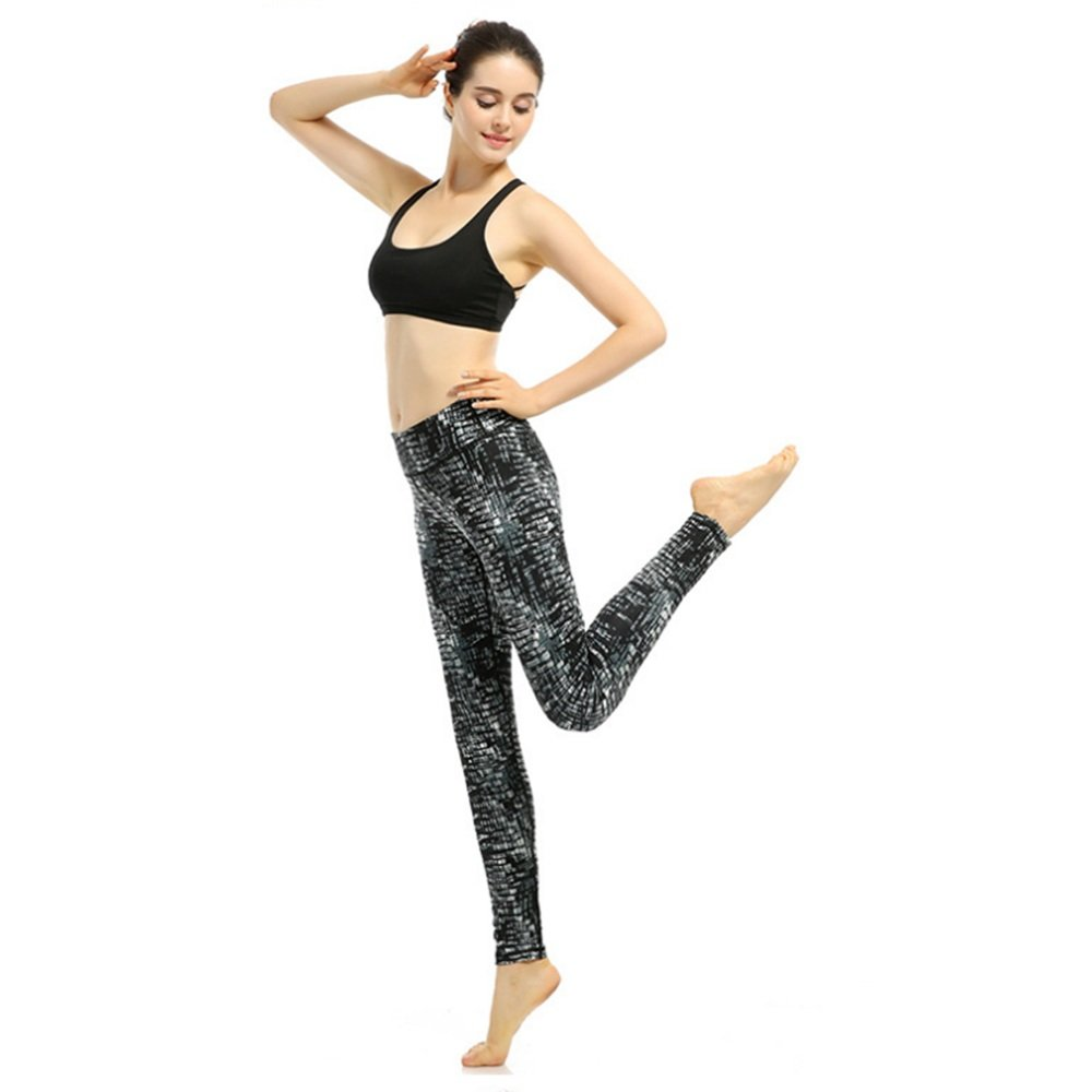 Yoga Pants Slim Thin Elastic Quick-Drying Printing Tight Nine Movement Workout Running (Size : XL)