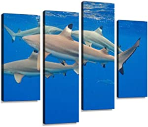 Shark Feeding Frenzy Canvas Wall Art Hanging Paintings Modern Artwork Abstract Picture Prints Home Decoration Gift Unique Designed Framed 4 Panel