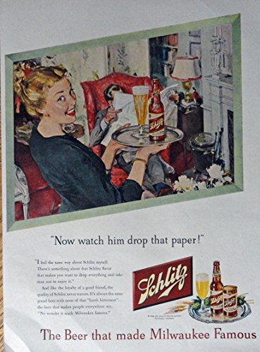 Schlitz Beer, 40's Print Ad. Full Page Color Illustration (woman with beer on tray [