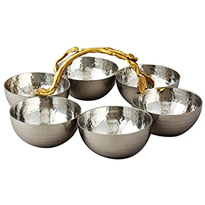Elegance Golden Vine Hammered Stainless Steel Bowl Server, Silver/Gold, Set of 6