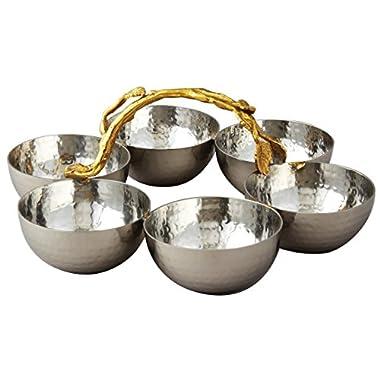 Elegance Golden Vine Hammered Stainless Steel Bowl Server, Silver/Gold, Set of 6