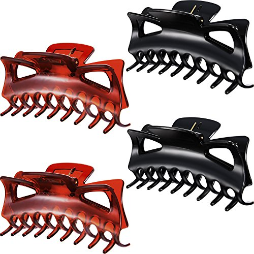 (Bememo 4 Pieces Plastic Hair Claw Clips Women Thick Hair Claw Clamps (4.33 Inches))