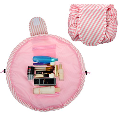 Quick Pack Lazy Travel Cosmetic Makeup Bag Toiletry Storage Organizer Drawstring Bag, Pink Striped (Bag Quick)
