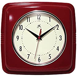 Infinity Instruments Square Clock, Red