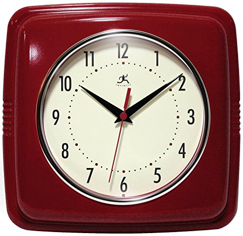 "Infinity Instruments 9"" Retro Wall Clock Red Wall Clock"