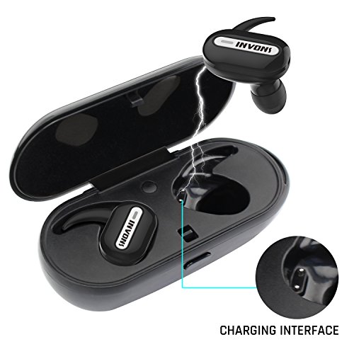 Truly Wireless Earbuds-INVONS Bluetooth Music Earbuds with Charging Storage Box in Ear Noise Canceling Mini Headset for Running Sport Bass Earphones with Audio Sound Earpiece (Black)