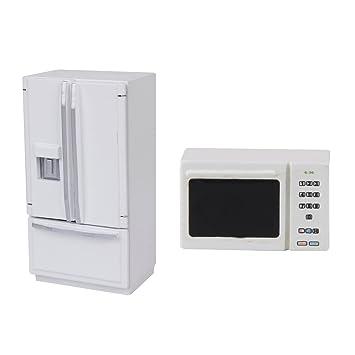 Amazon.es: Escala 1/12 Miniaturas Refrigerador Blanco y ...