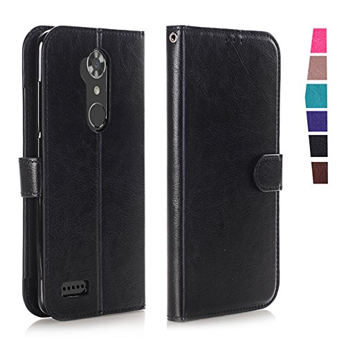 ZTE ZMAX Pro Case, ZTE Carry Cases, KAMII Magnetic Closure Premium PU Leather Folding Flip Wallet Case [ID Card / Cash Slot] Cover with [Kickstand Feature] for ZTE Zmax Pro / Carry Z981 (Black)