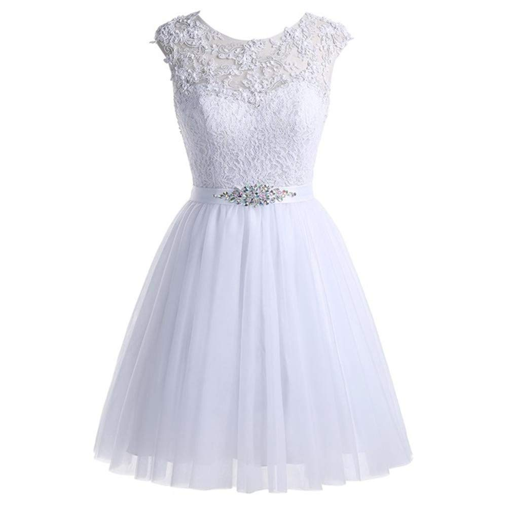 White Huifany Women's Short Tulle Homecoming Dresses Lace Prom Cocktail Party Gowns