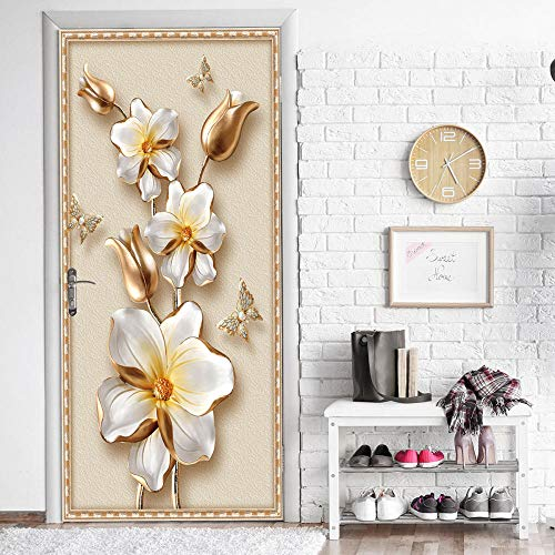 Golden Flower Creative 3D Stereo Door Stickers Home Personalized Decorative Wall Stickers Self-Adhesive Adhesive Waterproof LMYLY (A Kind Of Flower That Begins With D)