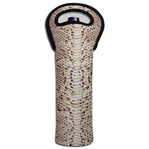 MMNJUIPOP Wine Carrier Snake Skin Pattern Single Bottle Wine Tote Bag/Beer/Cans/champagne/Water or Drink Bottle Bag(1-Bottle) (Snakeskin Carrier)