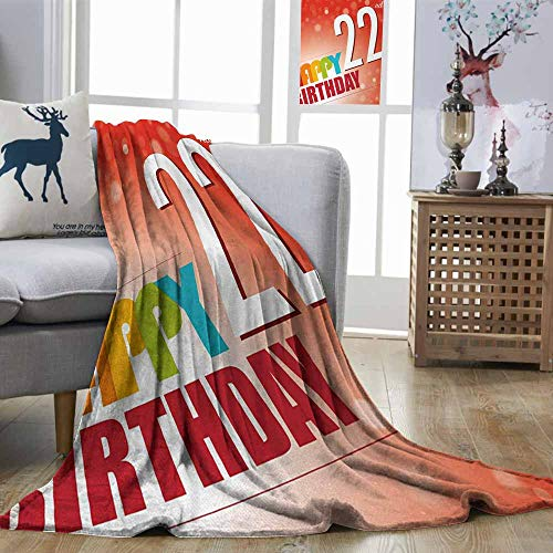 DILITECK 22nd Birthday Breathable Blanket Invitation to Happy Celebration of A New Age Bokeh Effect Style Art Print Machine Washable Red White W70 xL84 -