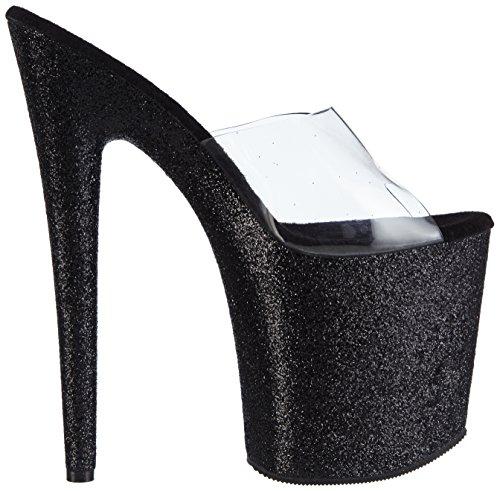 Tacco Sandali blk clear Donna Pleaser Con 801sdg Trasparente Flamingo Glitter qFAIAU6w