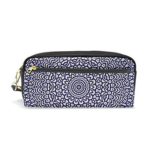 WIHVE Mandala Kaleidoscope School Students Pencil Case Pen Bag Women Case Makeup Cosmetic Bag With Zipper (Kaleidoscope Leather Womens)