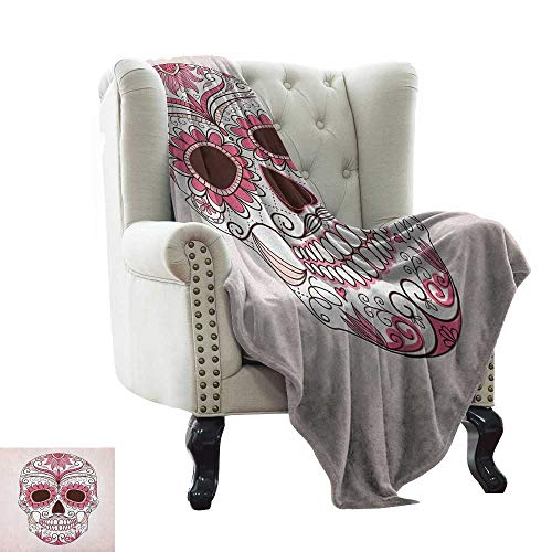 LsWOW Weighted Blanket for Kids Sugar Skull,Mexican Ornaments Calavera Catrina Inspired Folkloric Art Macabre, Pink Pale Pink White Extra Cozy, Machine Washable, Comfortable Home Decor 60