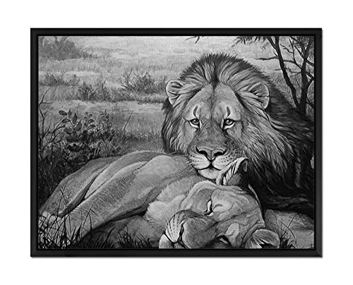 Lion And Lioness Relaxing - Art Print Wall Art Canvas  With