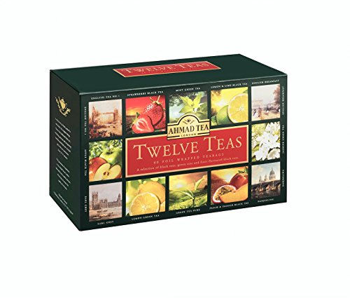 Ahmad Tea Twelve Teas Variety Gift Box, 60 Foil Enveloped - Tea Gift Set Green