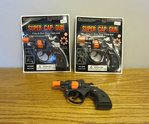 2 Shot Pistol (2 NEW SUPER CAP GUNS TOY PISTOL HANDGUN FIRES 8 SHOT RING CAPS KIDS REVOLVER)