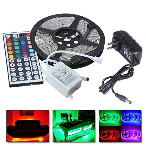 Obteun 5M RGB 5050 Non Waterproof LED Strip Light SMD with 44 Key Remote + 12V Power Plug